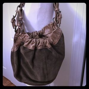 Fossil suede and leather hobo purse